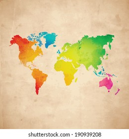 Vector water-colour world map on aged paper texture