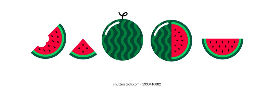 Vector watermelon flat icons set isolated on white background. Cartoon watermelon cute and kawaii style. Funny water melon illustration. Whole, slice, half fresh healthy summer fruits icons. EPS10