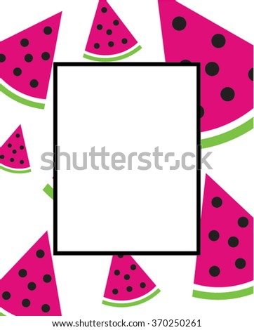 vector watermelon patterned frame invitation template stock vector
