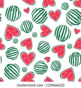 Vector watermelon seamless pattern. Background for summer. Food vector texture. Sliced fruit, red heart of watermelon. Summel wallpaper. Fits for t-shirt print design, bag, textil.