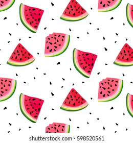 Vector watermelon slices pattern. summer fresh illustration. Tasty decoration texture. Berry dessert fruit. Freshness organic food
