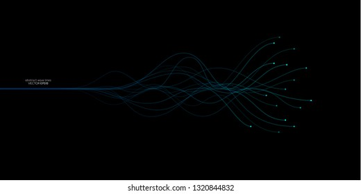 Vector wave dots lines flowing dynamic in blue green colors isolated on black background for concept of AI technology, music, sound