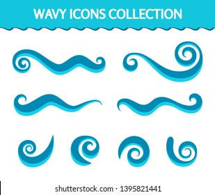 Vector wave icons, set of simple swirls and splashes in flat style, smooth curly shapes on white, decorative wavy elements for logo design