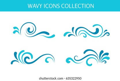 Vector wave icons, simple swirls, set of decorative curly shapes on white