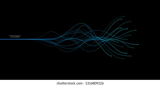 Vector wave lines flowing dynamic in blue green colors isolated on black background for concept of AI technology, music, sound