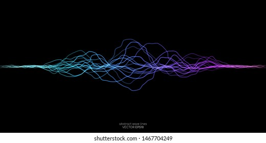 Vector wave lines flowing dynamic in purple violet blue green colors isolated on black background for concept of AI technology, music, sound, voice