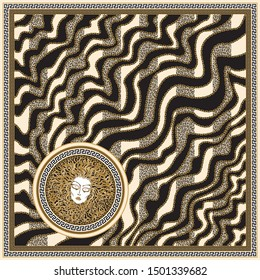 Vector wave striped shawl print with gold chains, black and beige leopard spots, Greek meander border pattern, Medusa Gorgon head  Baroque silk bandana . 6 pattern brushes in the palette