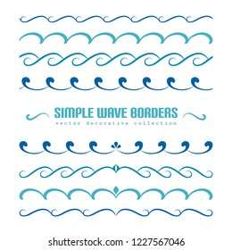 Vector waves, set of wavy borders, divider lines with curly pattern, simple nautical ornaments and flourish vignettes for summer design, swirly embellishment on white