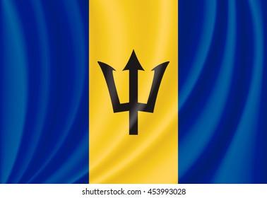 vector waving flag of Barbados