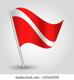 vector waving maritime signal flag on slanted metal silver pole - symbol of diving - red and white color