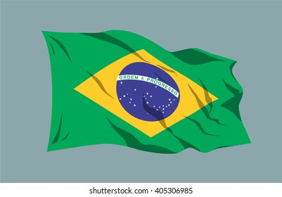 Vector waving national country flag ribbon Brazil