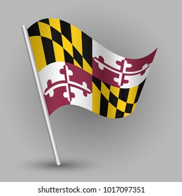 vector waving simple triangle american state flag on slanted silver pole - icon of maryland with metal stick