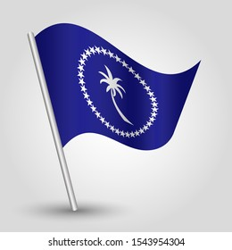 vector waving simple triangle chuukese flag on slanted silver pole - symbol of chuuk with metal stick