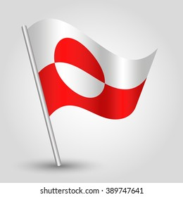 vector waving simple triangle flag on slanted silver pole - icon of greenland with metal stick