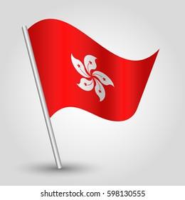 vector waving simple triangle hongkonger flag on slanted silver pole - icon of hong kong with metal stick