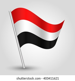vector waving simple triangle Yemeni flag on slanted silver pole - icon of Yemen with metal stick
