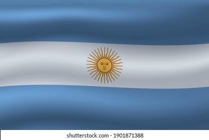 Vector wavy flag of Argentina.