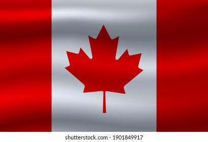 Vector wavy flag of Canada.
