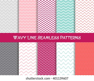 Vector wavy line seamless patterns romantic vintage collection