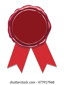vector wax seal with red ribbons