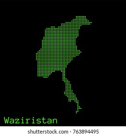 Vector Waziristan map dotted silhouette with green dots on a black background (as on old ancient computers running DOS)
