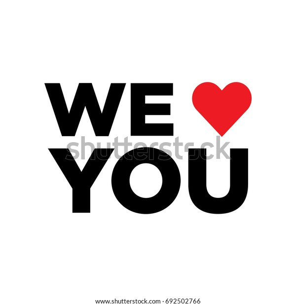 Vector we love you with heart icon. We heart u.
