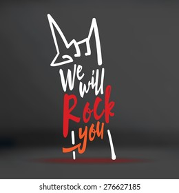 Vector : We will rock you word with hand doodle shape on black studio background,Music concept