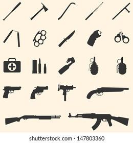 vector weapon icons: baseball bat, ax, crowbar, telescopic baton, nunchaku, brass knuckles, knife, stun gun, handcuffs, first aid kit, ammo,  grenade, pistol, revolver, Ingram,  shotgun, AK-47.