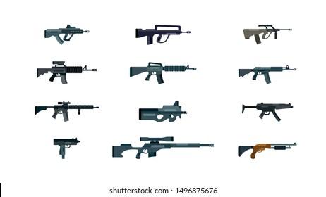 Vector weapon pack: flat vector illustration set