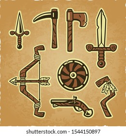 Vector weapon set on a worn parchment background. Includes: dagger, pike, bow and arrow, axe, viking shield, flintlock pistol, shaman staff, used one-handed sword. Can be used without the background.