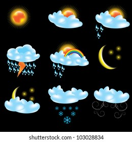 Vector weather forecast icons black background