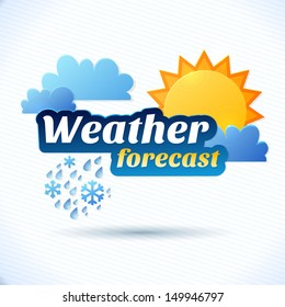 Vector weather forecast for TV or web. Clouds and sun and typography on white background