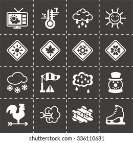 Vector Weather icon set on black background