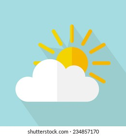 Vector weather icon, sun with cloud. Flat design