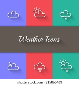 Vector Weather Icons Collection, Sign, Symbol,Sticker, Badge, Logo for Web Design, User Interface.