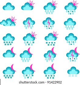 Vector weather icons isolated on white background.