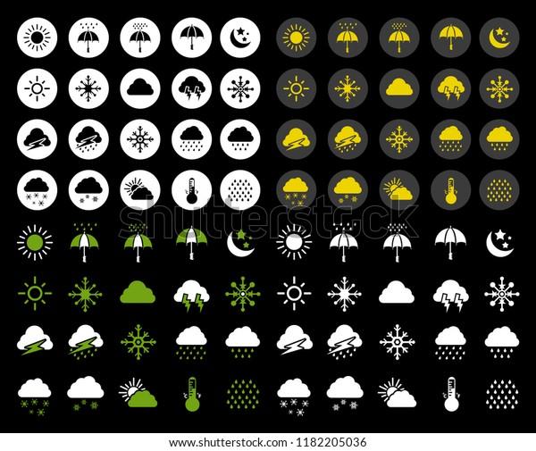 vector weather icons set. Weather forecast sign symbols - meteorology illustrations