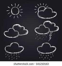 vector weather icons set on chalkboard