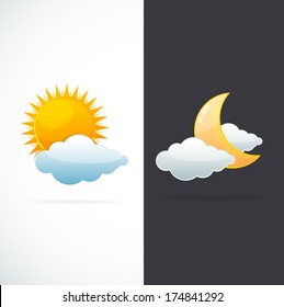 Vector weather icons sun and moon