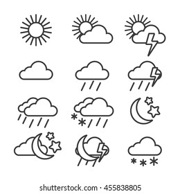 Vector weather outline icon set