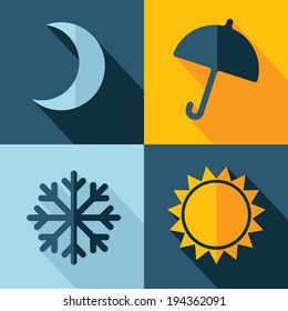 Vector weather set icon. moon umbrella snow sun. Eps10