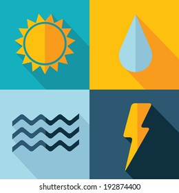 Vector weather set icon. sun flash drop wind. Eps10