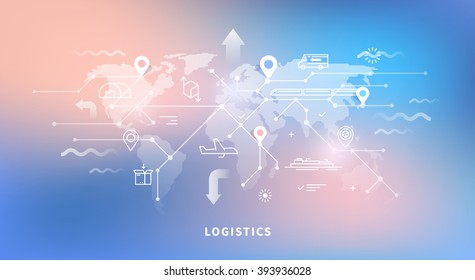 Vector web banner on the theme of Logistics, Warehouse, Freight, Cargo Transportation. Storage of goods, Insurance. Modern flat design. Neon background.