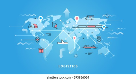 Vector web banner on the theme of Logistics, Warehouse, Freight, Cargo Transportation. Storage of goods, Insurance. Modern flat design.