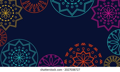 Vector. Web banner, poster, cover, splash screen, social media with place to place your text. Perforated bright patterns Papel Picado pattern on a color background. Hispanic Heritage Month.