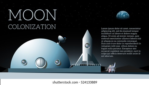Vector web banner with text moon colonization. Illustration with space colony, astronauts, rocket