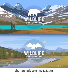 Vector web banners on the themes of wild animals of America, survival in the wild, hunting, camping, trip. Mountain landscape. Wildlife conservation.