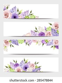 Vector web banners with pink, purple, white and green roses, lisianthuses, hydrangea and lilac flowers.