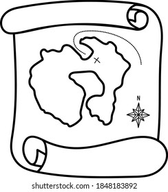 Vector web clipart scroll of an old treasure map. Funny, cute illustrations for children's room decor, stickers, games and postcards. Hand-drawn print and Doodle.