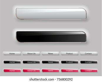 Vector web design menu buttons. Website navigation bar. Website header. Glossy labels.